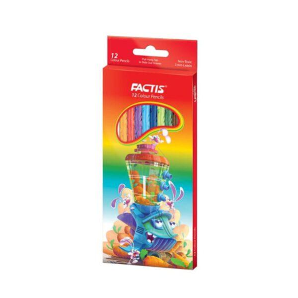 مداد رنگی 12 رنگ جعبه مقوایی فکتیس