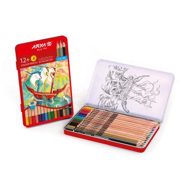 مداد رنگی 3+12 رنگ جعبه فلزی آریا